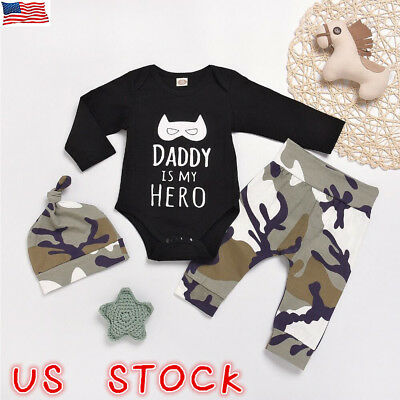 Newborn Baby Girl Boy Camouflage Romper Tops Jumpsuit Pants Hat Outfits Clothes