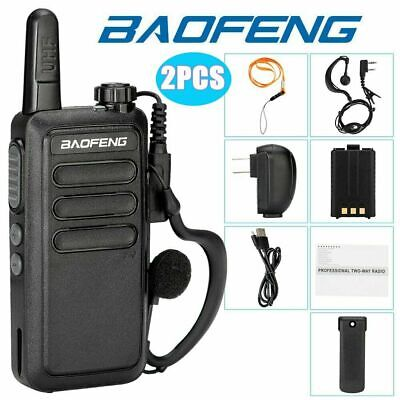 2pcs Baofeng BF-R5 FRS Walkie Talkie UHF 400-470Mhz Two Way Radio USB Charger