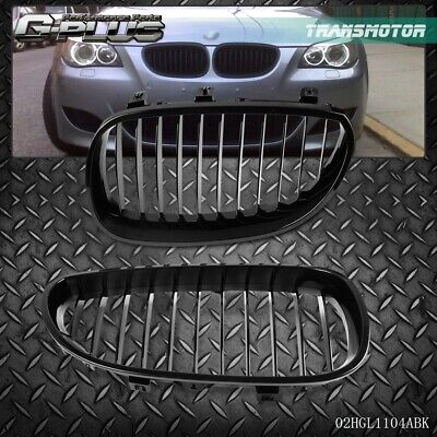 For BMW E60 E61 5 Serie M5 03-09 Front Bumper Kidney Grille Glossy Black