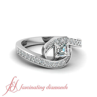 1 Ct Asscher Cut Swirl Style Diamond Rings White Gold For Her 14K GIA Certified