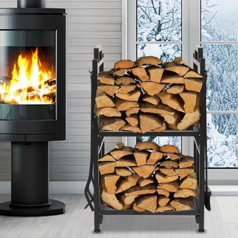 """30"""" Indoor/Outdoor Firewood Log Rack Fireplace Storage Holder With Tools 2 Floor"""