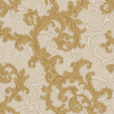 Versace Wallpaper Damask Swirl Trail Gold Beige Textured Paste Wall Vinyl
