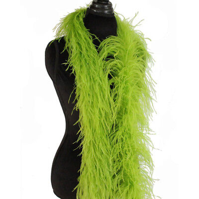 Lime Green Feather Boa (Lime Green 3ply Ostrich Feather Boa Scarf Prom Halloween Costumes Dance)