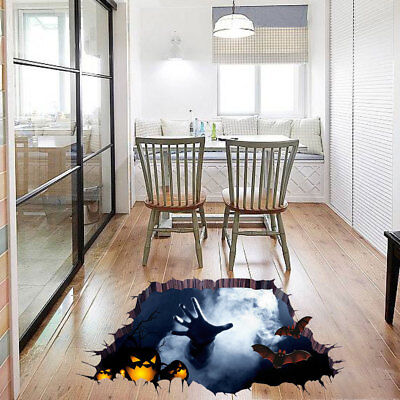 Halloween 3D View Wall Sticker Horror Floor Mural Removable Decal Home Decor - Halloween Floor