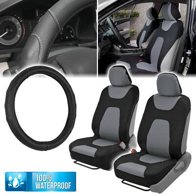 Beige Black Rome Sport Car Seat Cover and Ergomonic Grip Steering Wheel Cover