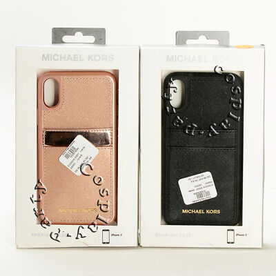 Michael Kors Snap-On Hard Case Cover w/Card Pocket For iPhone X / iPhone - Hard Case Cover Pouch