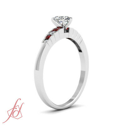 3/4 Carat Platinum Engagement Ring With Heart Shaped Diamond And Round Ruby GIA 2