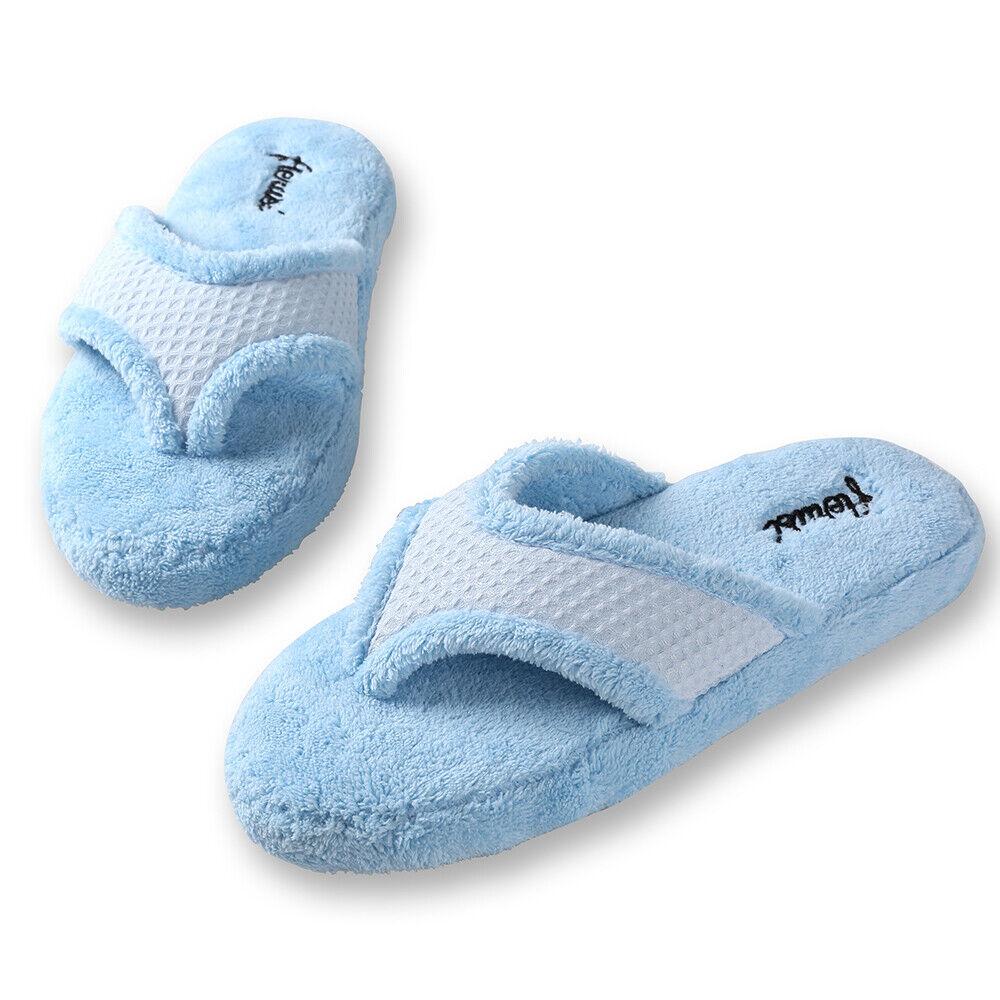 123b0a5a5b30 Women Plush Fuzzy Thong Spa Slippers Cozy Flip Flops House Shoes Size 6 7 8  9 10