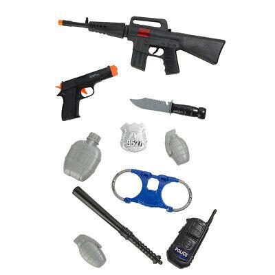 10Pcs Kids Police Gear Pretend Play Set Toy Gun Rifle Pistol Knife Handcuffs - Kids Police Gear
