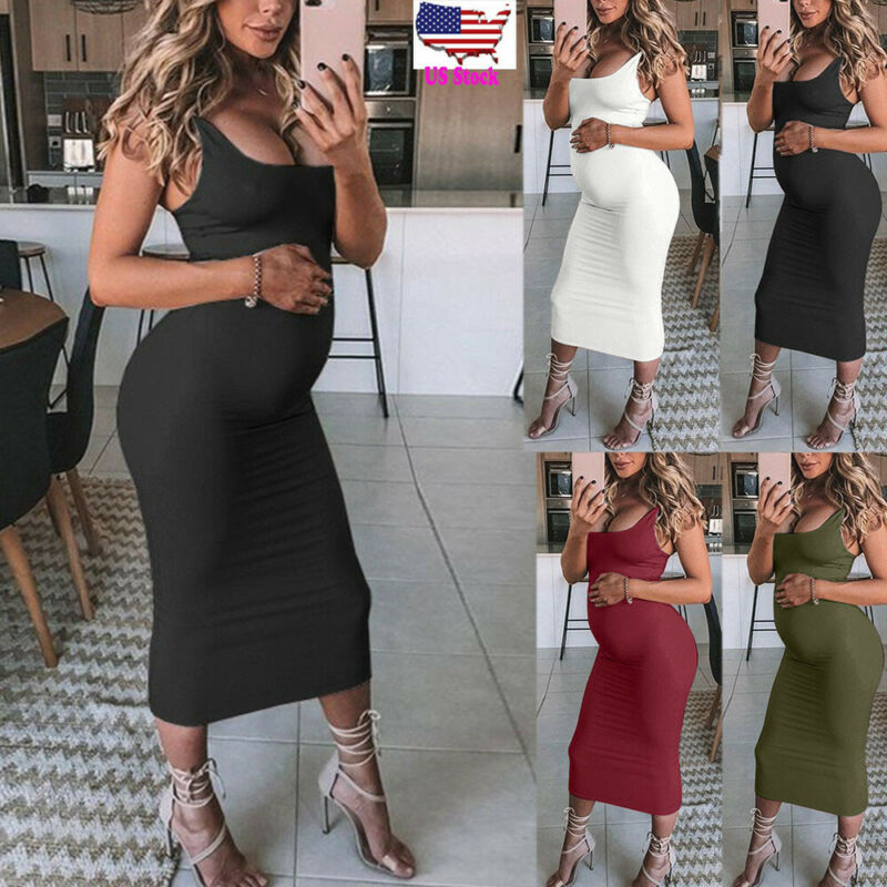 Women Pregnancy Maternity Props Solid Bodycon Vest Long Dres