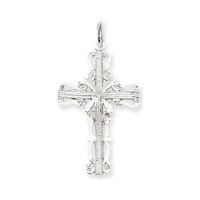 14k White Gold Diamond-Cut Filigree Cross Charm Pendant   1.42 Inch 14k White Gold Cross Charm
