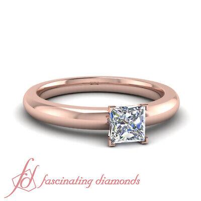 1/2 Ct Discounted Rose Gold Princess Cut Solitaire Engagement Rings Comfort (Comfort Fit Princess Cut Diamond)