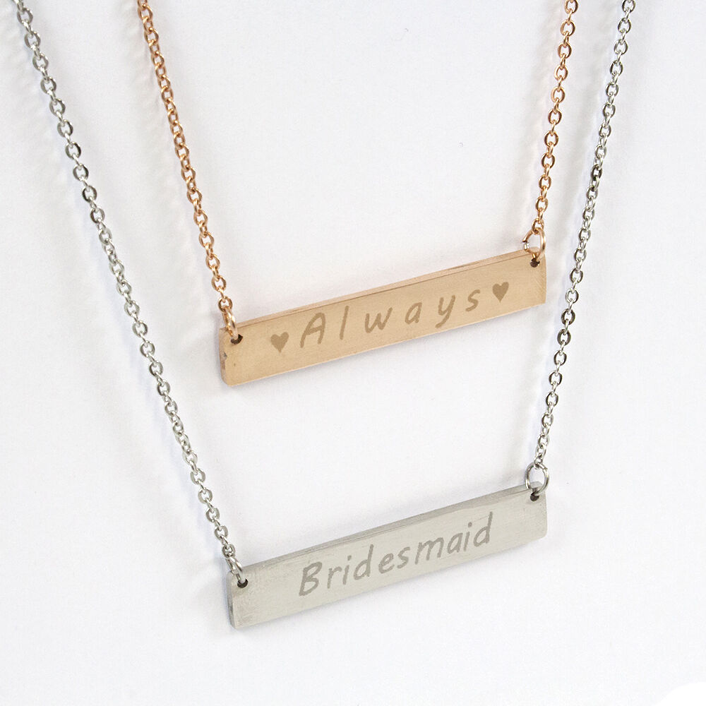 personalised engraved name bar necklace gold