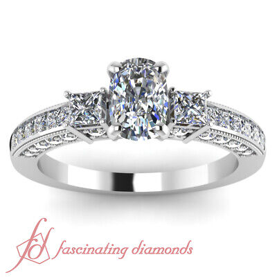1.6 Ct Cushion Cut:Very Good Diamond 3 Stone Channel Set Engagement Ring 14K GIA 1