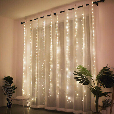 300LED/10ft Curtain Fairy Hanging String Lights Wedding Valentine's Day Decor US