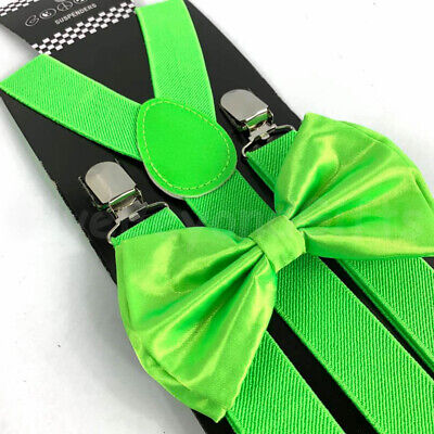 Suspender and Bow Tie Adults Men Neon Lime Green Wedding Formal Wear - Neon Suspenders And Bow Tie
