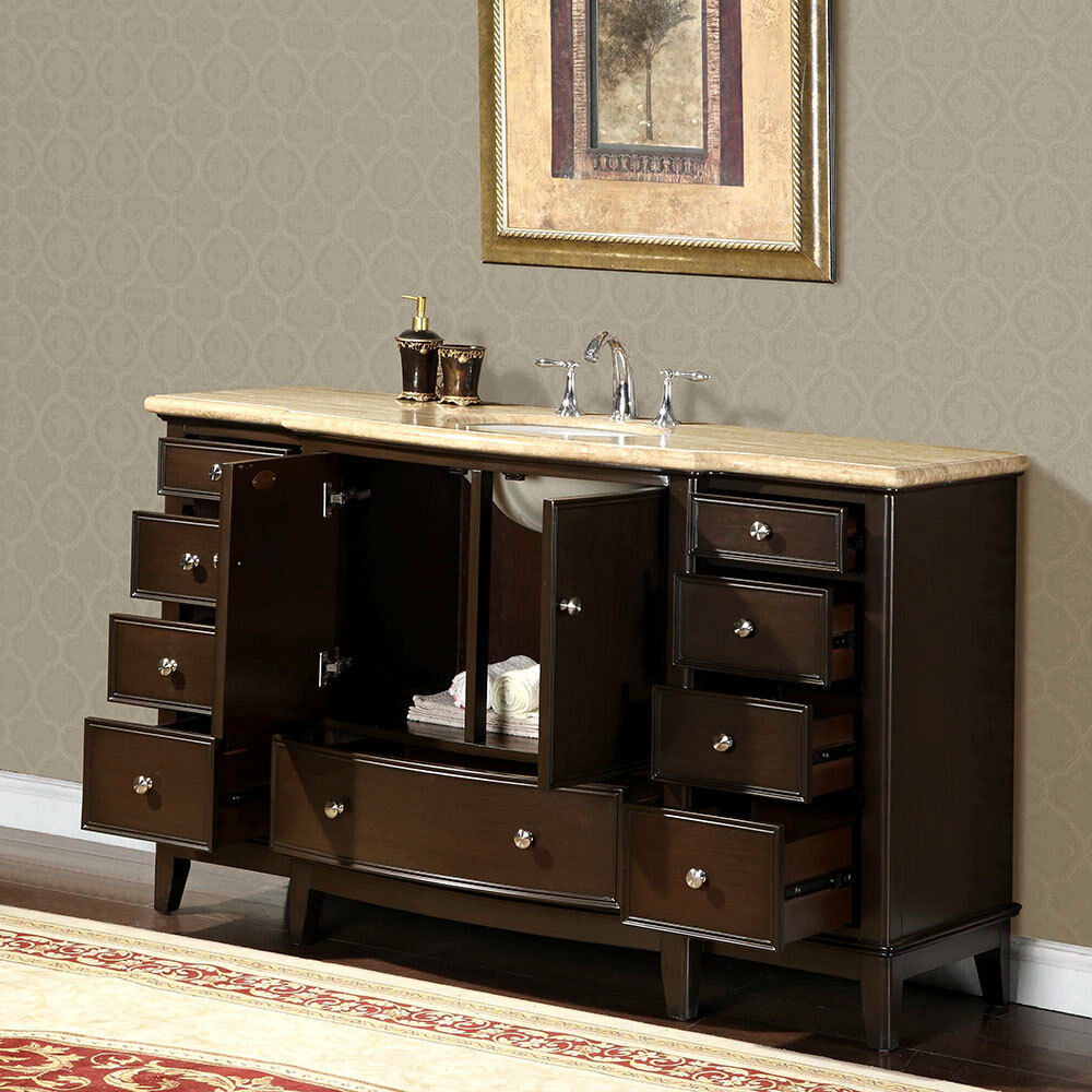 60 inch travertine stone counter top bathroom single sink - 72 inch single sink bathroom vanity ...