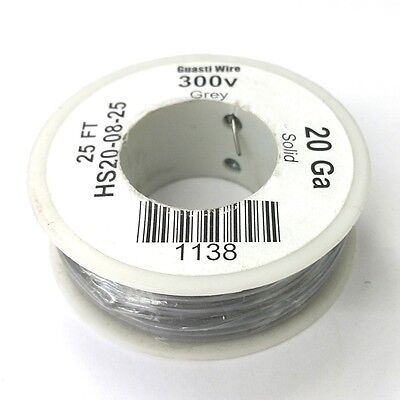 Hs20-08-25 20awg Grey Pvc Insulated Solid 300 Volt Hook-up Wire 25 Roll