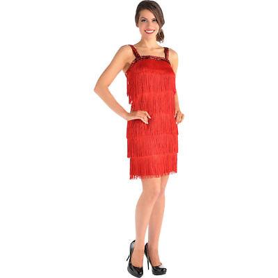 Fringe Flapper Costume (Ladies Flapper Costume Dress Up Red Fringe and Sequin)