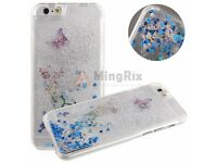Silver Liquid Quicksand Glitter Bling Butterfly Back Case Cover for iPhone 6S