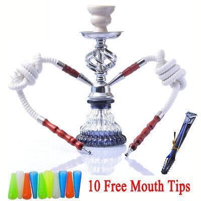 Hookah 2 Hose Decorative Smoking Nargila Glass Water Pipe Set W/ Tips 11.4''Arab