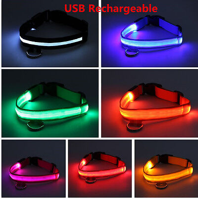 RECHARGEABLE USB LED Dog Pet Light Up Safety Collar Night Glow Adjustable Pink