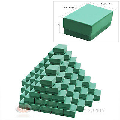100 Teal Blue Cotton Filled Jewelry Gift Boxes 2 58 X 1 12