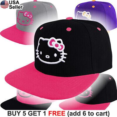 Hello Kitty Cap Logo Hat Snap Back Emblem Embroidered Women Adult Girls Cute 3D