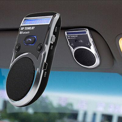 Powered LED Speaker Solar Bluetooth Wireless Handsfree Car Kit For Cellphone US