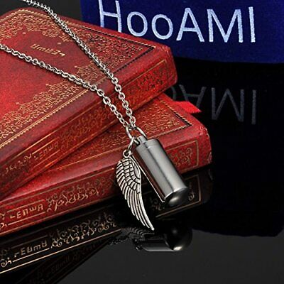 HooAMI Angel Wing Charm amp Cylinder Memorial Urn Necklace Stainless Steel - $17.68