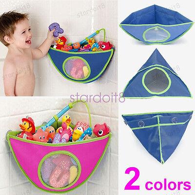 Kid Baby Corner Bath Time Toy Tidy Storage Triangle Bag Suction Cup Organizer