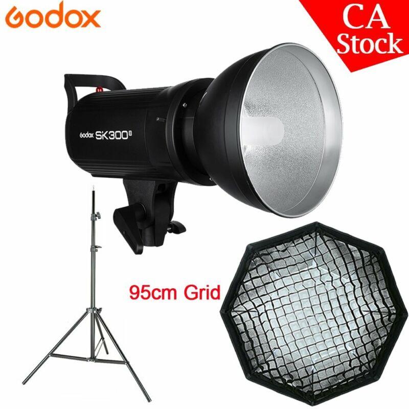US Godox SK300II 2.4G Studio Monolight Flash + 95cm grid softbox + Light Stand