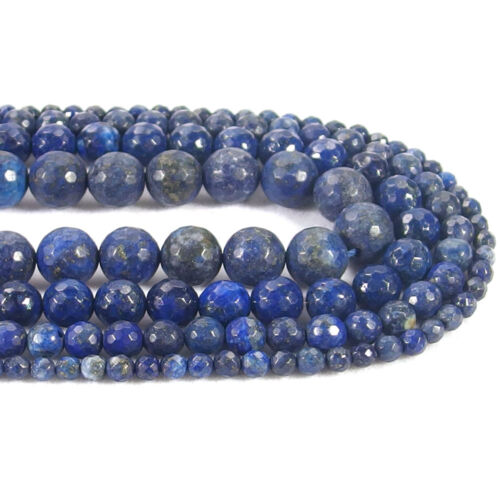 Natural Lapis Stone Faceted Round Spacer Beads 15.5