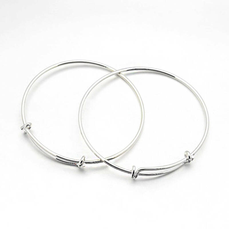 2 Adjustable Brass Bangle Bracelets Silver Tone Double Loops - N334 NEW4