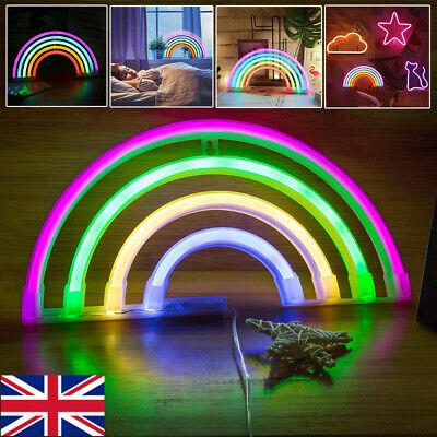 Neon Light, LED Rainbow Sign Shaped Wall Decor Light, USB/Battery Night Light