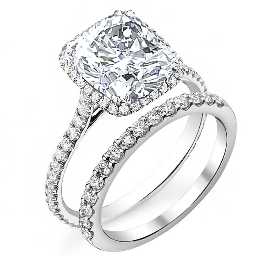 2.00 tcw Natural Cushion Cut Halo Pave Engagement Bridal Set Ring -GIA certified 1