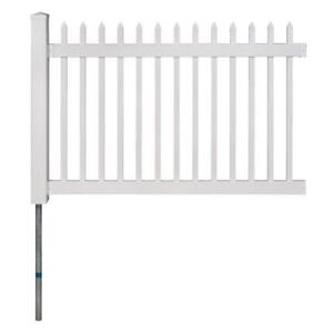 4 ft. x 6 ft. Nantucket Vinyl Picket Fence Panel with Post and Anchor Kit