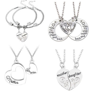 Mother And Daughter Necklace Heart Pendant Gifts For Her Mom Presents Jewelry ()