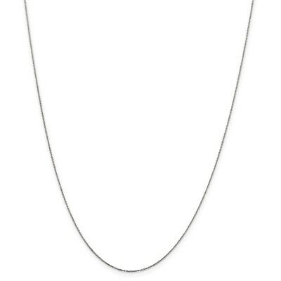 14k White Gold .6mm Solid Diamond-Cut Cable Link Chain Necklace 14 Inch