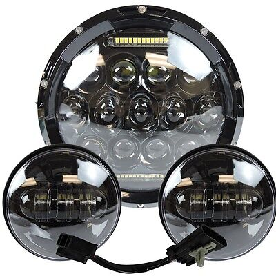 "7"" Led Projector Daymaker Headlight + Passing Lights For Harley Touring Black 3"
