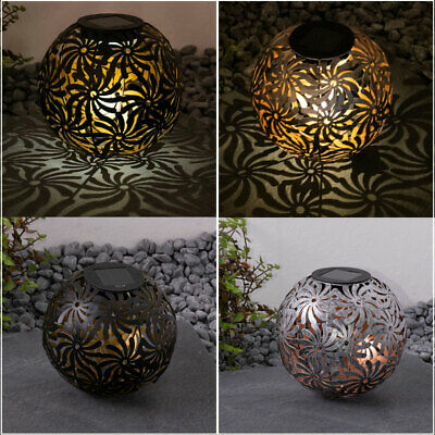 2x LED solar ball plug-in lamps silver garden decoration earth lamps BLACK GOLD