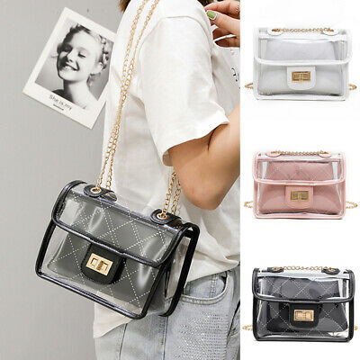 Women Transparent Handbag Shoulder Bag Clear Jelly Purse Clutch Tote Messenger - Small Totes