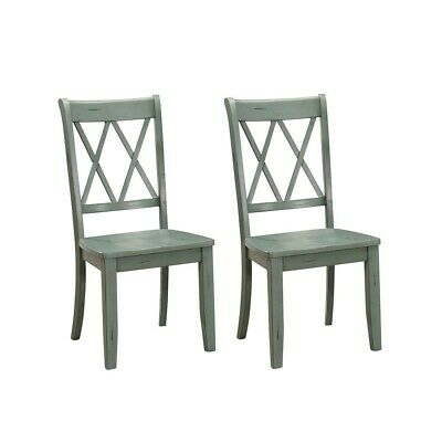 Set of 2 Homelegance X Back Wood Dining Chair, Teal