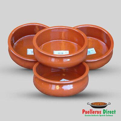 Set of 4 x 18cm Spanish Terracotta Tapas Dishes / Bowls / Cazuelas Abombada