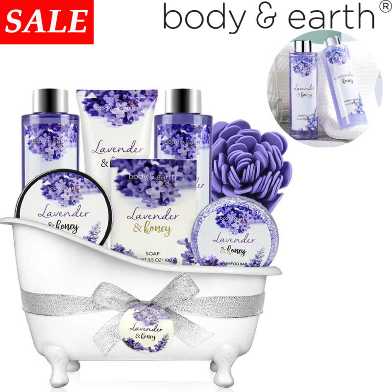 8pcs Lavender Spa Gift Set for Women, Bath Spa Baskets Birthday Gifts for Her