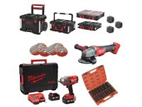 """Milwaukee M18ONEFHIWF12 ONE KEY Fuel 1/2"""" Impact Wrench Kit + PACKOUT Modular System + FUEL Grinder"""