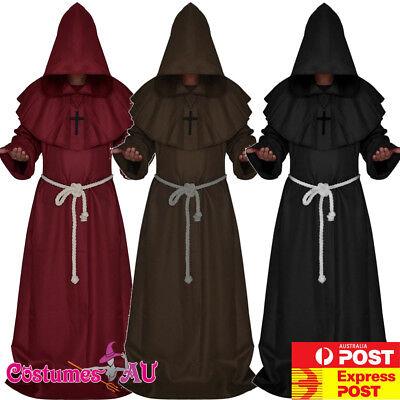 Hooded Robe Monk Costume Renaissance Halloween Cross Black (Hooded Monk Robe)