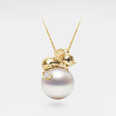 AAAA+ 11.7MM Round White FW Pearl Mouse Pendant 14K Yellow Gold & Black Diamond Fw White Pearl Pendant