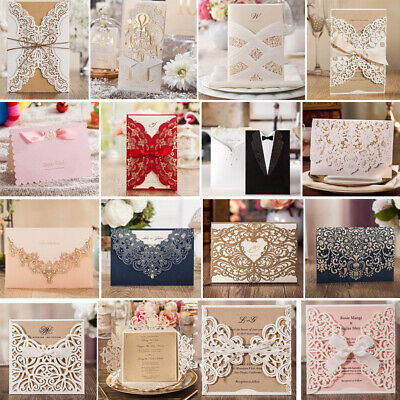 Personalized Laser Cut Wedding Invitation Card Kits with Hollow Lace - Pocket Wedding Invitation Kits