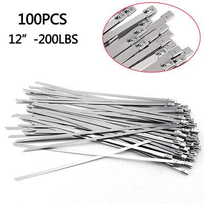 100pcs 12 Stainless Steel Metal Cable Zip Tie Self Lock Strap Heavy Duty 200lbs